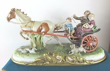 RARE CAPODIMONTE HORSE AND CARRIAGE FIGURE CENTREPIECE BY BRUNO MERLI