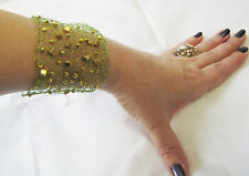 WIDE HAND KNITTED FROM EMERALD GREEN WIRE & GOLD CUBES BEADS  BRACELET BANGLE