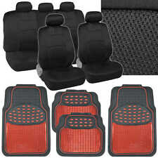 Black Sport Mesh Cloth Seat Covers w/ Metallic Tough Rubber Floor Mats in Red