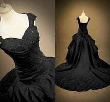 2017 Gothic Black Wedding Dresses Ball Gown Lace-Up Bridal Gowns Custom Made