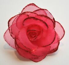 "SMALL 3"" Sheer Sparkle Hot Pink Rose Artificial Silk Flower Hair Clip Wedding"