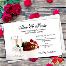 50 Personalised Red Rose Champagne Wedding Invitations Day & Evening D18