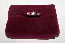 ❤VINTAGE14K WHITE GOLD 5 STONE DIAMOND RUBY WEDDING ENGAGEMENT ANNIVERSARY RING