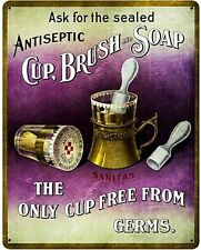 Antiseptic Cup Brush Soap Barber steel sign  375mm x 300mm (pst)