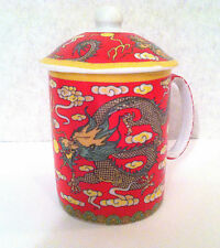Chinese Porcelain Tea Cup Coffee Mug with Lid in Dragon Graphic design