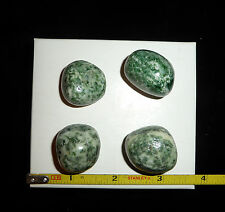 DINO: 4 Beautiful Speckled SERPENTINE Polished Stones - 79 grams.