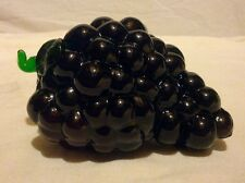 MOLDED ART/GLASS - PURPLE GRAPE CLUSTER WITH GREEN LEAF AND STEM