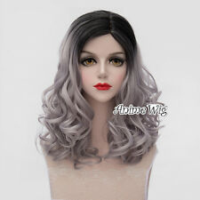 Black Mixed Gray Long 45CM Curly Lolita Cosplay Party Heat Resistant Full Wig