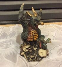 """Green & Gold Dragon w/ Skulls Figurine Mythical Fantasy Collectible 4"""" Statuette"""