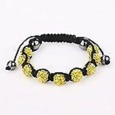 SPARKLY YELLOW SHAMBALLA BRACELET- MACRAME-9 DISCO BEADS-CZECH CRYSTAL-UK SELLER