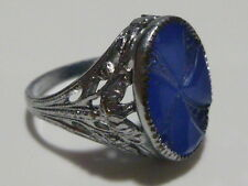 ART DECO WOMENS ESTATE CARVED BLUE GLASS FILIGREE STERLING SILVER RING BAND