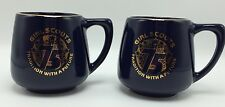 Two Vintage Girl Scout 75 Yrs Coffee Mugs Cups Blue Gold Tradition With A Future