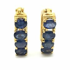 14K Yellow Gold Natural Sapphire Clip/ Hoop Earrings. September Birthstone