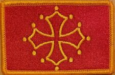 Toulouse France Flag Iron-On Patch Patch Occitan Cross GOLD Border #02