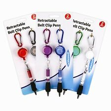 2 Pack Retractable Belt Clip Ball Point Pen Carabina Carabiner Keychain Keyring