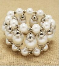 Silver and White Pearl Bubble Stretch FASHION Bracelet