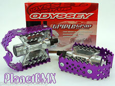 "Odyssey TRIPLE TRAP bicycle BMX PEDALS set PURPLE cage SILVER body 9/16"" size"