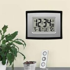 Self Setting Digital LCD Home Office Decor Wall Clock Indoor Temperature BY