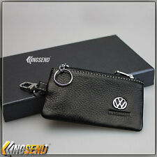 new VOLKSWAGEN Genuine Cow Leather Car Key Bag Remote Cover Fob Holder Case Ring