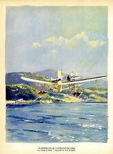 Premier vol de l´Hydravion de Fabre. Aquarelle de Paul Lengllé/Grafik um 1940