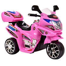 3 Wheels Power Motorcycle Battery Powered Kid Ride On Baby Car  Pink  6V