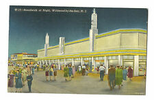 1960 Postcard Boardwalk At Night Wildwood By The Sea New Jersey Shore Beach