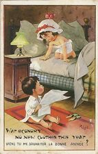 CARTE POSTALE POSTCARD ILLUSTRATEUR RIGHT WAR ECONOMY NO NEW CLOTHES THIS YEAR