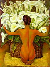 Diego Rivera Nude with Calla Lilies Oil Painting repro