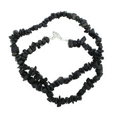 "BLACK STONE 18"" CHIP NECKLACE W/ SS CLASP A+ bead"