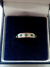 9ct yellow gold Emerald & Diamond half eternity ring size K