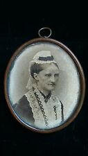 Antique Victorian LARGE Mourning Portrait Pendant Necklace Beautiful Detail