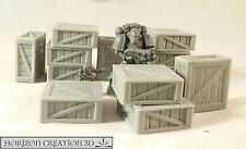HC3D - Crates 25x25x10mm - 12 Pack -Terrain & Scenery Fantasy