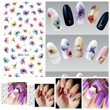 Sheet Chinese Ink Flowers Nails Art Sticker Beautiful Water Transfer Decals BB