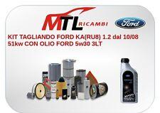 KIT TAGLIANDO FORD KA(RU8) 1.2 dal 10/08 51kw CON OLIO FORD 5w30 3LT