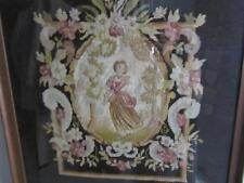 THE MOST STUNNING FRENCH ANTIQUE FRAMED  WOOLWORK PANEL OF A YOUNG GIRL