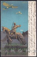 ALDO MAZZA 16 Illustratore CONCORSI AEREI VERONA maggio 1910 AVIAZIONE Cartolina