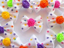 50! Colourful Satin Polka Dot White Ribbon Rose Bow Ties - Colour Mix Bow Tie!