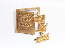 VIntage Christmas Brooch Santas Toy Shop Pin Vintage C Clasp Brooch Vintage Elf