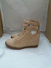 Ladies Hidden Wedge Suede Ankle Boots Lace-Up & Velcro - Size UK 5 in Camel