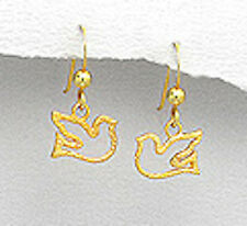Yellow Gold Over 1.1g Solid Sterling Silver Vermeil Dove Dangle Earrings