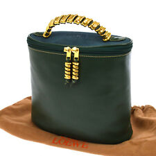 Authentic LOEWE Logos Chain Hand Tote Bag Green Gold Leather Vintage AK14259