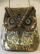 HANDBAG / EVENING BAG WITH A DIFFERENCE - FULL BEAD EMBELLISHED OWL DESIGN
