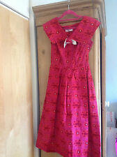 Beautiful true vintage 1950s Raspberry pink cotton day dress with shawl collar S
