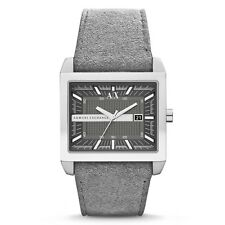 Armani Exchange Men's AX2212 Grey Leather Quartz Watch - 2 Years Warranty