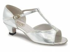 Silver  Roch Valley Lara  heel ballroom/latin dance shoes - Size UK 5.5