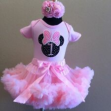 Minnie mouse pink pettiskirt set  1st or 2nd birthday NAME ADDED FOR FREE