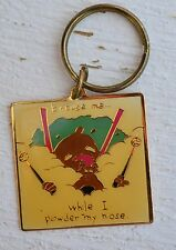 "Vintage ""Excuse Me Ihile I Power My Nose"" Cartoon Car Key Brass Ring Chain"