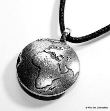 Planet Earth Globe Pewter Charm Pendant Necklace - UK Handmade - Astronomy World