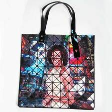 GLOSSY RAINBOW TIME SQUARE FIRST LADY OBAMA MICHELLE PRISM LARGE TOTE HANDBAG