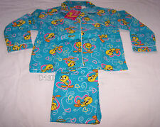 Looney Tunes Tweety Girls Blue Hearts Printed Flannel Pyjama Set Size 5 New